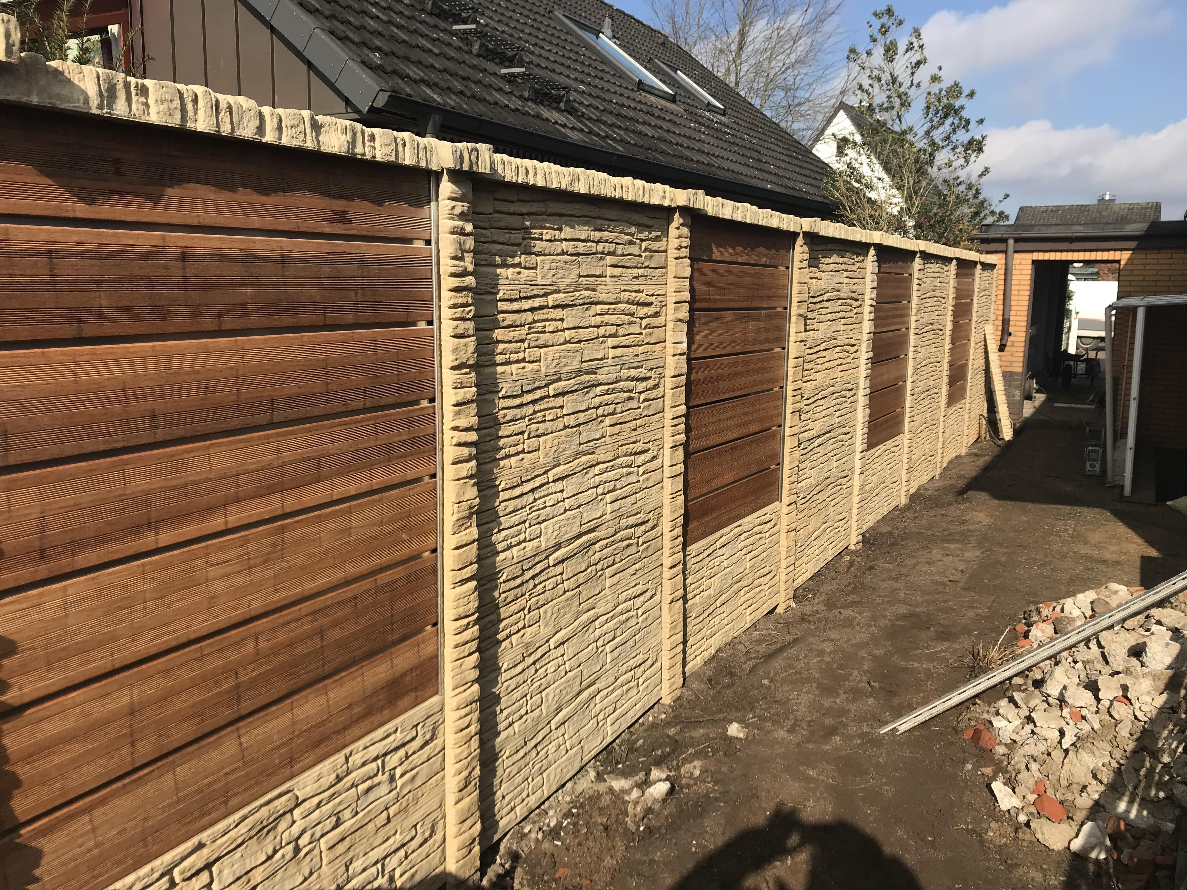 Holzzaunelemente Betonzaun Kaufen Betonzaunkombination